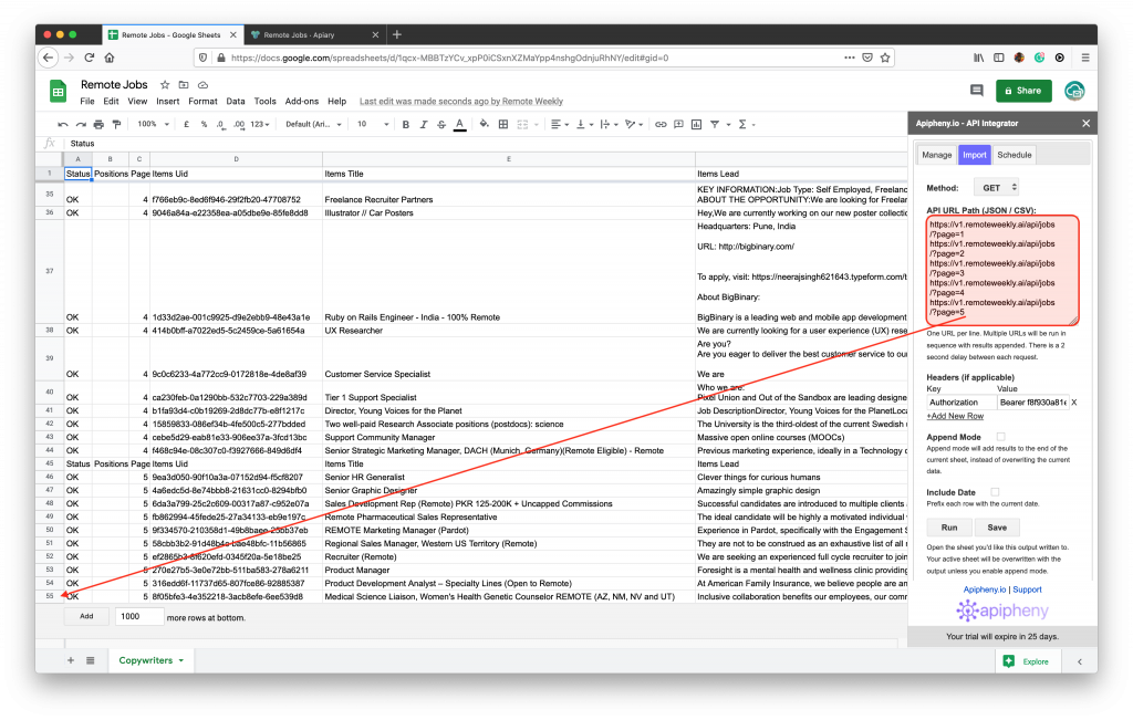Fetching 50 remote jobs into Google Sheets with one click