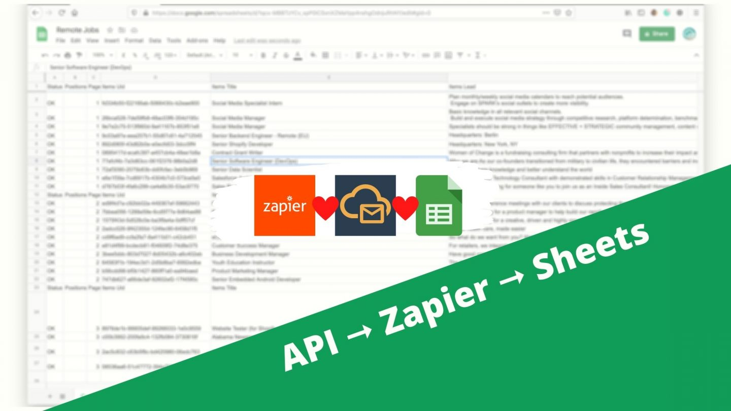 Remote jobs: From API to Zapier to Google Sheets