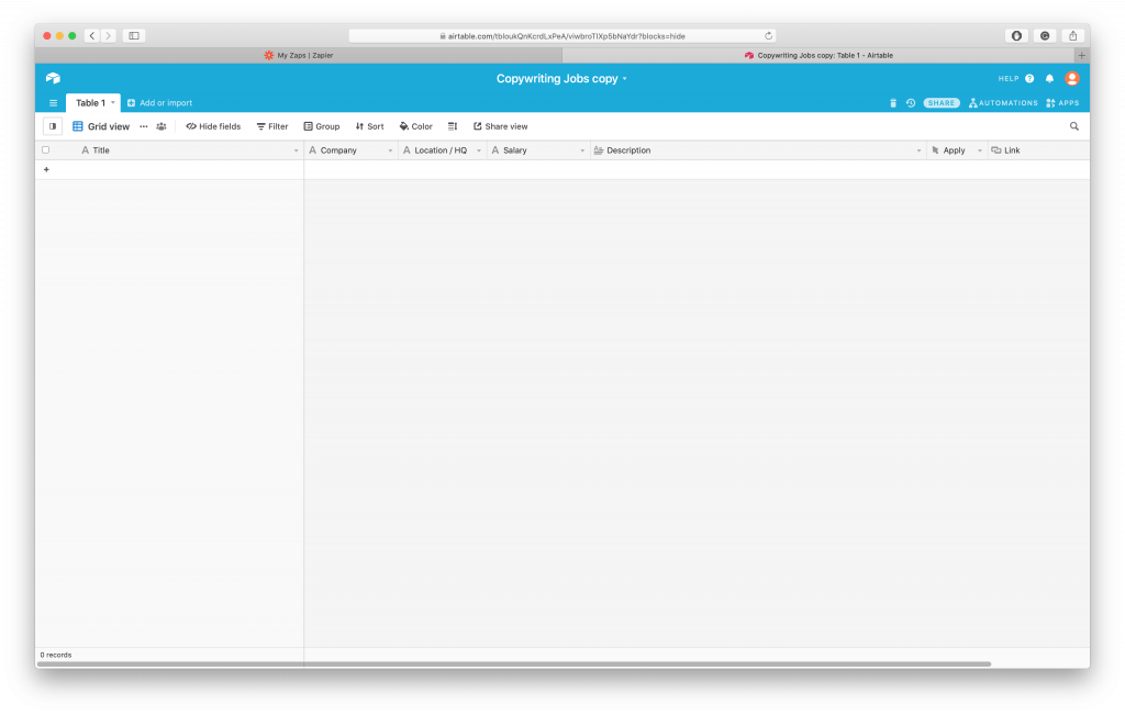 Collecting Remote Jobs, Step 1: Screenshot with empty Airtable Base