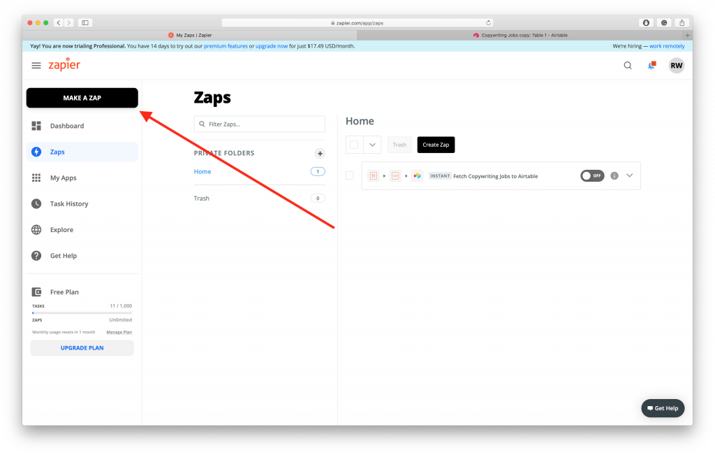 Collecting Remote Jobs, Step 2: Make a Zap