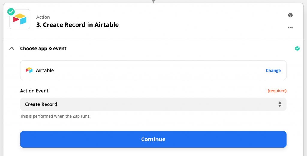 Step: Create Record in Airtable